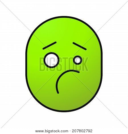 Confused upset smile color icon. Sceptical face. Isolated vector illustration