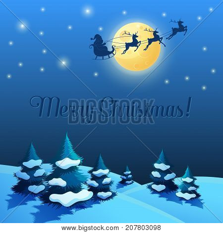 Santa Sleigh in the Moonlight. Christmas and New Year Landscape. Vector illustration