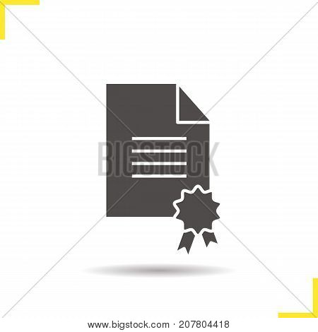 Diploma glyph icon. Drop shadow silhouette symbol. School certificate. Paper with sealing wax and tie. Negative space. Vector isolated illustration