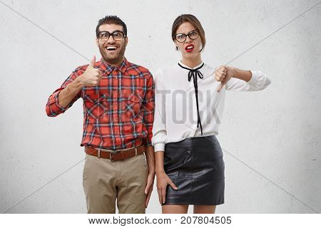 Portrait Of Business Partners Express Different Emotions And Have Various Attitudes: Excited Male Dr