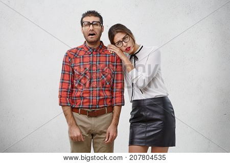 People, Troubles Concept. Crying Male Student Being In Panic As Explelled From University, His Group