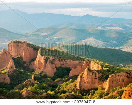 Las Medulas Historic Gold Mining Mountains.