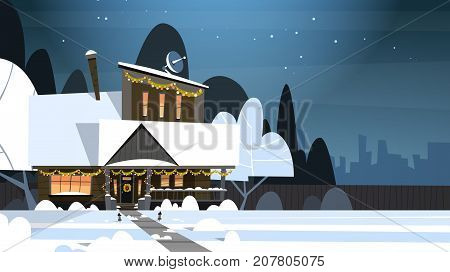 Village Winter Landscape House Building With Snow On Top City Or Town Suburb Street At Night Flat Vector Illustration