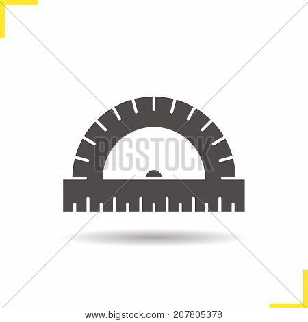 Protractor glyph icon. Drop shadow silhouette symbol. School ruler. Negative space. Vector isolated illustration