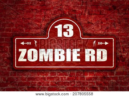 Vintage styled house nameplate. Zombie silhouettes. 13 number and zombie rd text. Ancient brick wall grunge texture