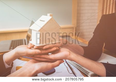 Housing company good teamwork housing business concept