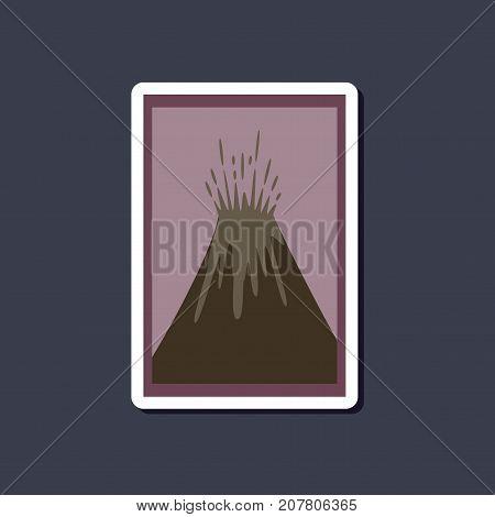 paper sticker on stylish background of eruption volcano
