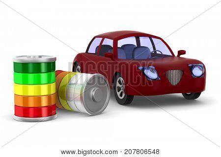 Red electro car on white background. Isolated 3D illustration