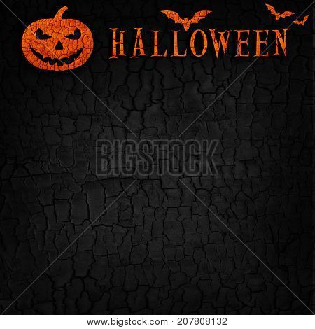 Abstract Halloween Pumpkin On Black Burned Wood Texture Background