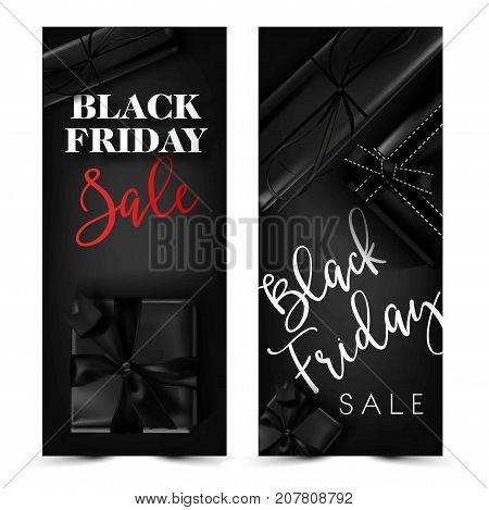 Black Friday sale discount promo offer poster or advertising flyer and coupon. Vector black gift box and bow tie ribbon for premium fashion shop sale black background