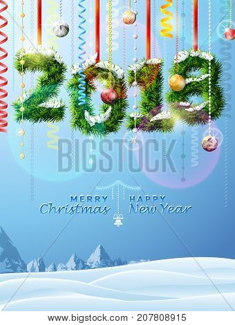 New Year 2018 of twigs like christmas decoration. Winter landscape with christmas congratulation. Best vector illustration for new years day christmas winter holiday