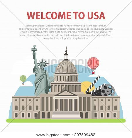 Welcome to USA poster of America famous landmarks and tourist attractions. New York Liberty Statue, American Capitol White House in Washington and Hollywood cinema vector flat design