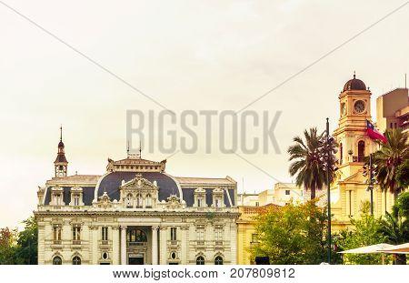 View on Correo Central building in Santiago de Chile