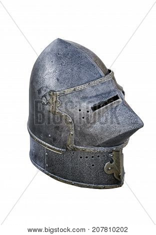 the warrier's armour helmet on white background