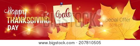 Thanksgiving Day Sale Autumn Traditional Holiday Shopping Discount Seasonal Price Off Banner Flat Vector Illustration