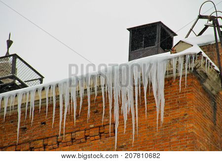 Icicles Hanging From Roof