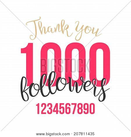 Thank You 1000 Followers Card Vector. Web Image for Social Networks. Beautiful Greeting Card. Illustration