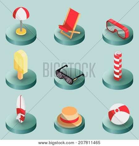 Beach outline isometric icons. Summer vacation. Vector illustration, EPS 10