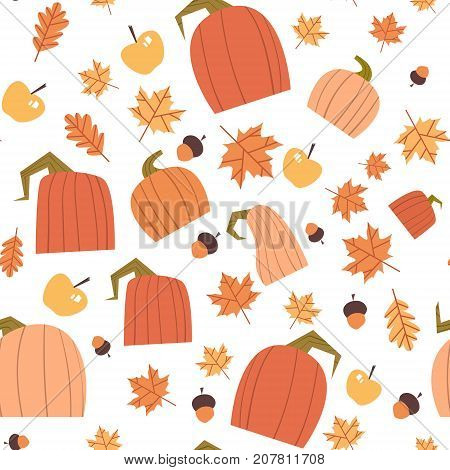 Autumn Seamless Pattern Background Yellow Leaves And Pumpkins Ornament Fall Season Flat Vector Illustration
