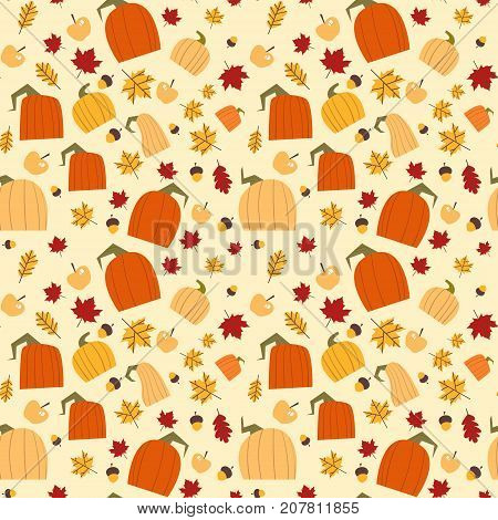 Autumn Seamless Pattern Background Yellow Oak Leaves And Pumpkins Ornament Fall Season Flat Vector Illustration