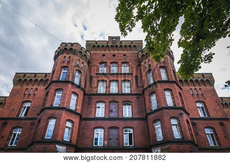 Front view of Red Barracks military buildings in Stargard Poland