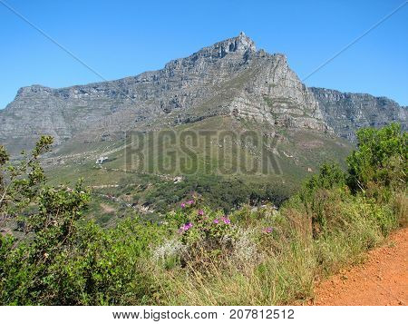 FROM CAPE TOWN, SOUTH AFRICA, VIEW OF TABLE MOUNTAIN FROM LIONS HEAD ON A CLEAR SUMMER DAY 05l