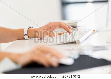 Hands on keyboard close up
