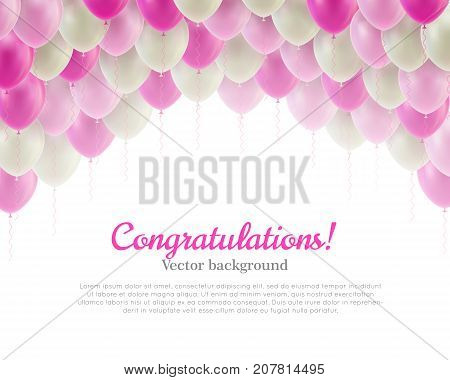 Congratulation card pink flying balls background above. Congratulation card with pink flying balls background from above. Balls backdrop as a vector illustration