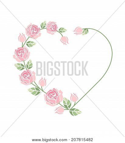 Vector illustration Decorative frame with pink roses on white background. Heart of roses