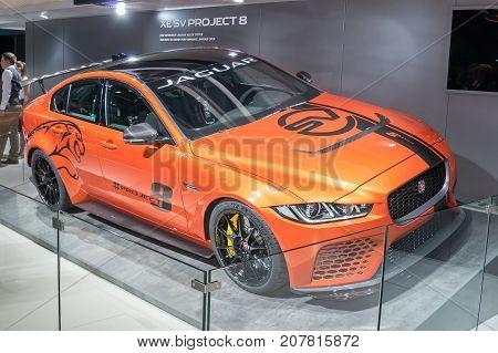 Frankfurt-September 20: Jaguar XE SV Project 8 at the Frankfurt International Motor Show on September 20 2017 in Frankfurt