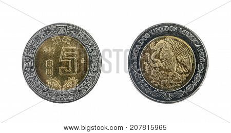 Five Mexican dollars coin: obverse and reverse.