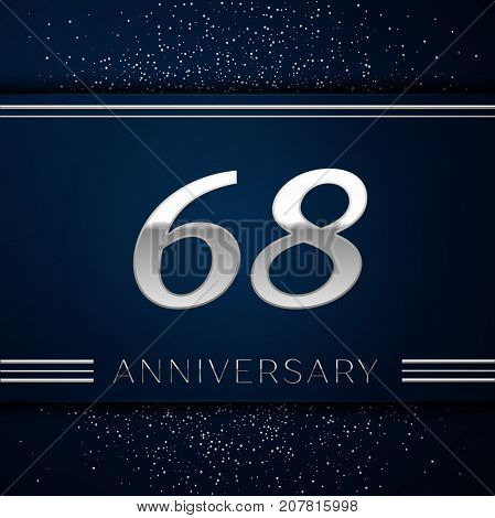 Realistic Sixty eight Years Anniversary Celebration Logotype. Silver numbers and silver confetti on blue background. Colorful Vector template elements for your birthday party