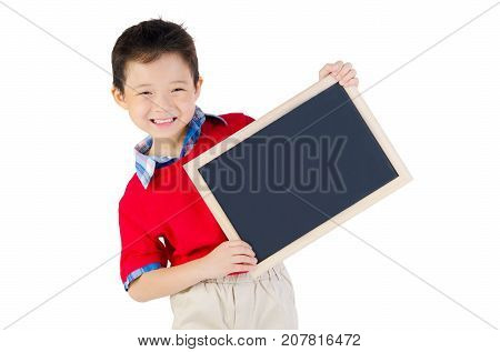 Asian little Chinese boyl holding a blackboard in isolated white background