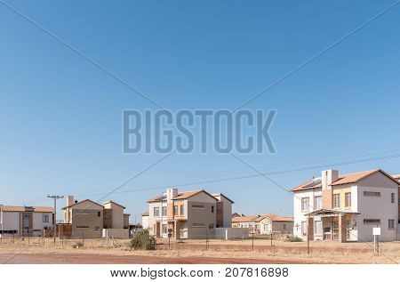 POSTMASBURG SOUTH AFRICA - JULY 7 2017: Houses in Postmasburg a town in the Northern Cape Province of South Africa