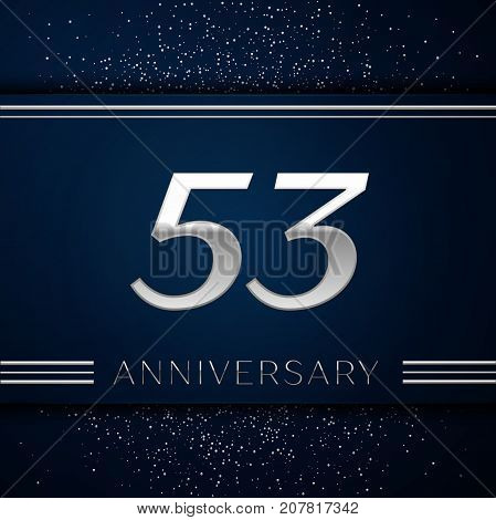 Realistic Fifty three Years Anniversary Celebration Logotype. Silver numbers and silver confetti on blue background. Colorful Vector template elements for your birthday party