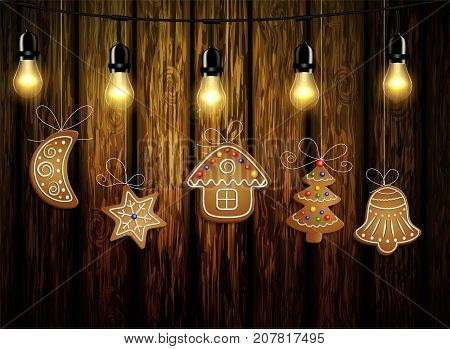 Gingerbread man tree bell half moon and stars with decorations Cristmas background on wood Vector