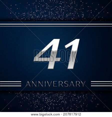 Realistic Forty one Years Anniversary Celebration Logotype. Silver numbers and silver confetti on blue background. Colorful Vector template elements for your birthday party