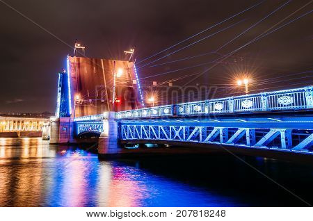 The Gate Of The Palace Bridge At Night In St. Petersburg.