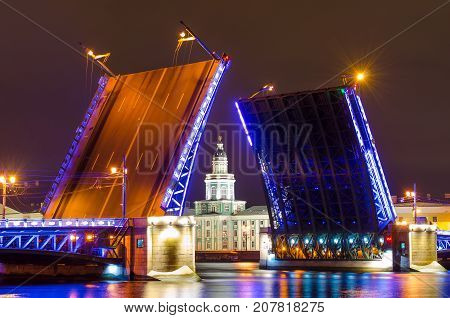 The Palace Bridge And The Kunstkamera Museum At Night On The Neva River In St. Petersburg.