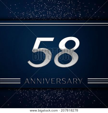 Realistic Fifty eight Years Anniversary Celebration Logotype. Silver numbers and silver confetti on blue background. Colorful Vector template elements for your birthday party