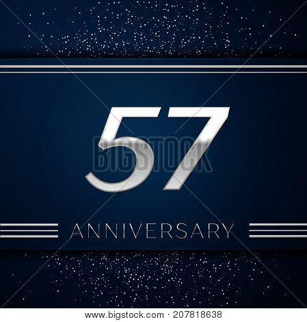 Realistic Fifty seven Years Anniversary Celebration Logotype. Silver numbers and silver confetti on blue background. Colorful Vector template elements for your birthday party