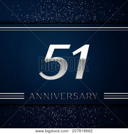 Realistic Fifty one Years Anniversary Celebration Logotype. Silver numbers and silver confetti on blue background. Colorful Vector template elements for your birthday party