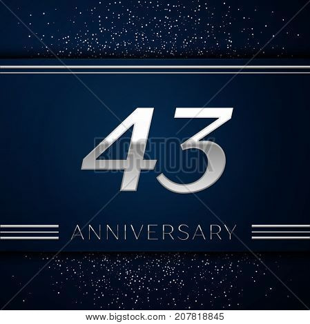 Realistic Forty three Years Anniversary Celebration Logotype. Silver numbers and silver confetti on blue background. Colorful Vector template elements for your birthday party