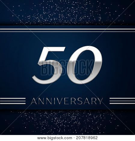 Realistic Fifty Years Anniversary Celebration Logotype. Silver numbers and silver confetti on blue background. Colorful Vector template elements for your birthday party
