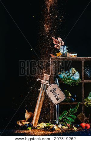 Mystic Still Life With A Test Tube Of Stardust And Wooden Case With Magical Items And Potion Ingredi