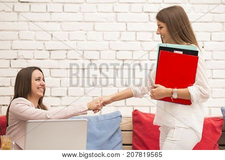 Young Woman Comes To A Job Interview