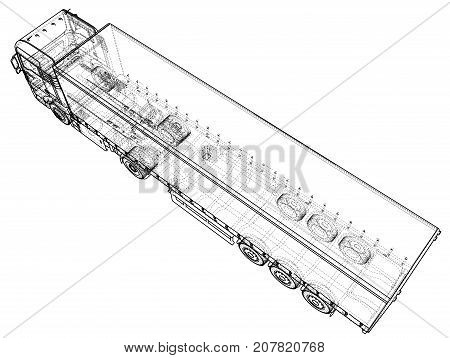 Car Delivery Semi Truck Trailer. Wire-frame. EPS10 format. Vector rendering of 3d.