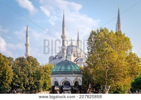 Istanbul Turkey- September 21 2017: Exterior of the Blue Mosque Istanbul's most representative mosque visited by millions of tourists