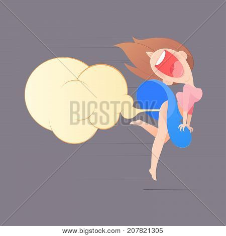 Cute Woman Farting With Blank Balloon Out From Her Bottom Vector Funny Face Cartoon Illustration