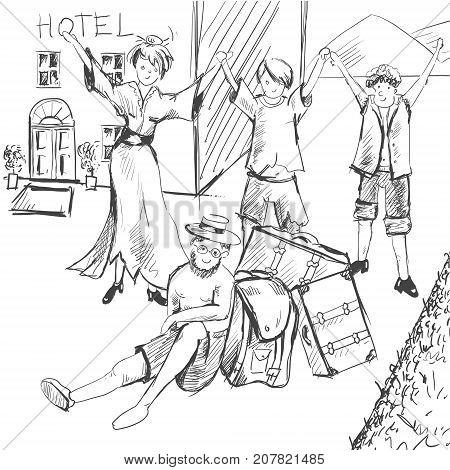Comic strip. Tired travelers came to civilization. A guide is exhausted, a man is sitting on the ground. A group of people is happy in the background of the hotel. Sketch style. Vector illustration